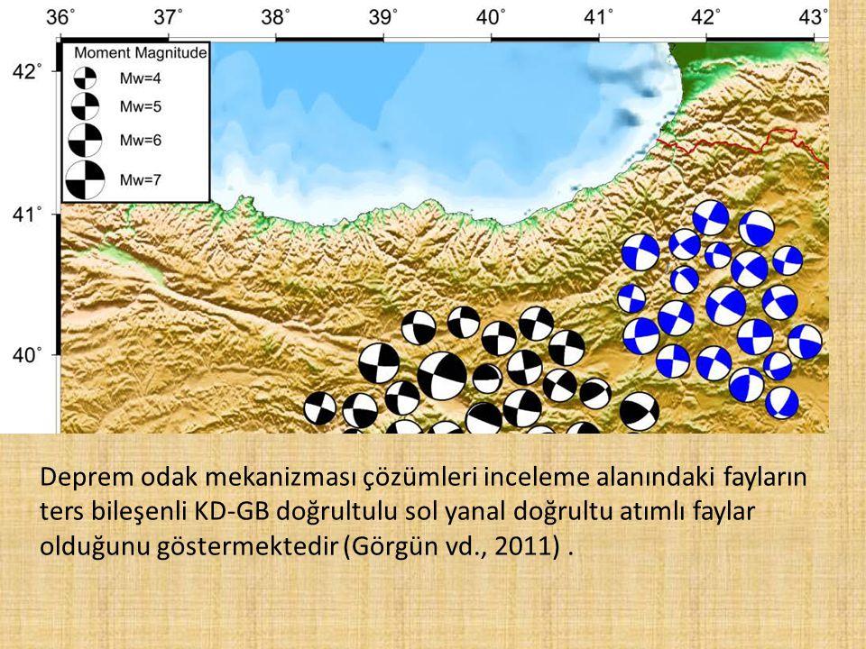 Deprem odak mekanizması çözümleri inceleme alanındaki fayların ters bileşenli KD-GB doğrultulu sol yanal doğrultu atımlı faylar olduğunu göstermektedir (Görgün vd., 2011) .