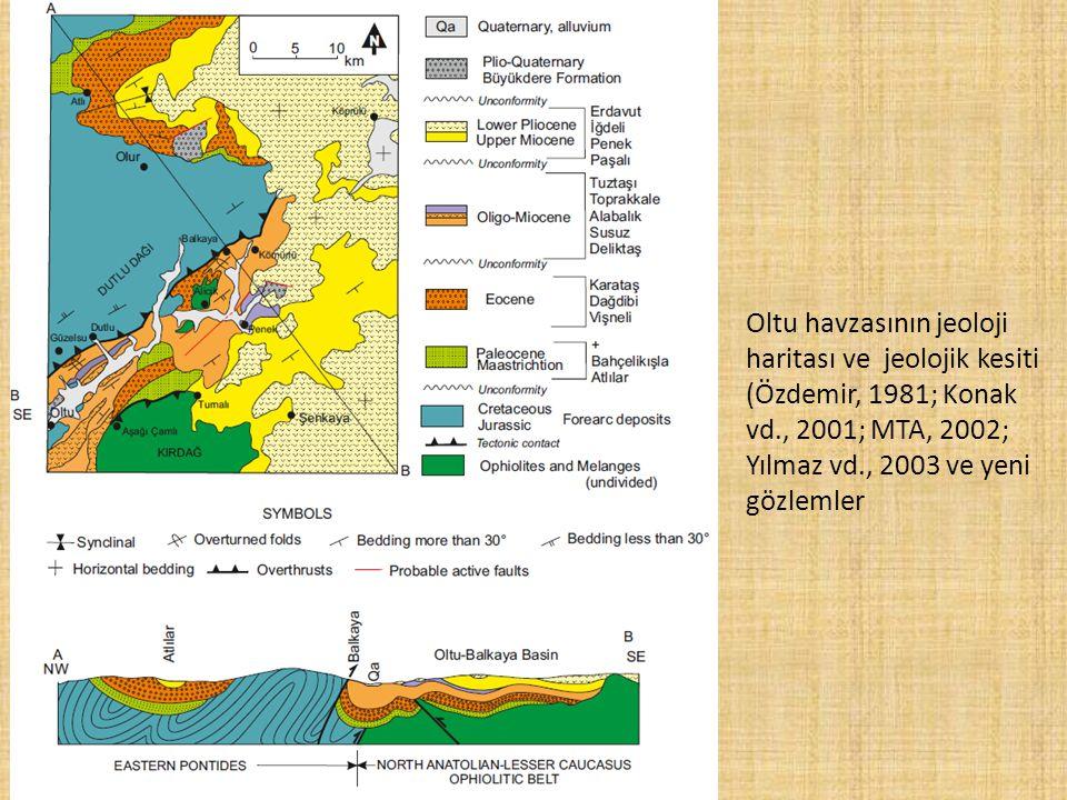 Oltu havzasının jeoloji haritası ve jeolojik kesiti (Özdemir, 1981; Konak vd., 2001; MTA, 2002; Yılmaz vd., 2003 ve yeni gözlemler