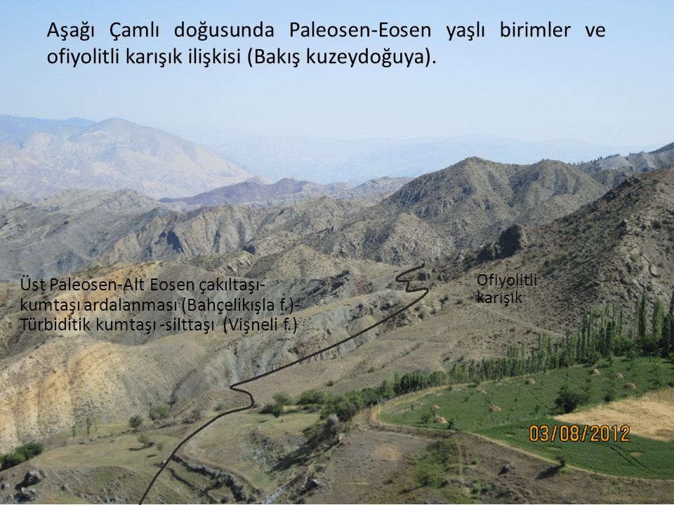 Aşağı Çamlı doğusunda Paleosen-Eosen yaşlı birimler ve ofiyolitli karışık ilişkisi (Bakış kuzeydoğuya).