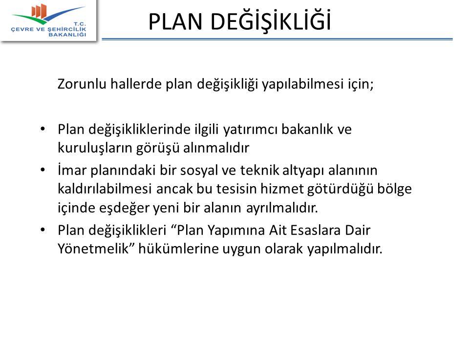 PLAN DEĞİŞİKLİĞİ Zorunlu hallerde plan değişikliği yapılabilmesi için;