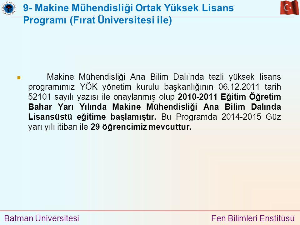 9- Makine Mühendisliği Ortak Yüksek Lisans Programı (Fırat Üniversitesi ile)