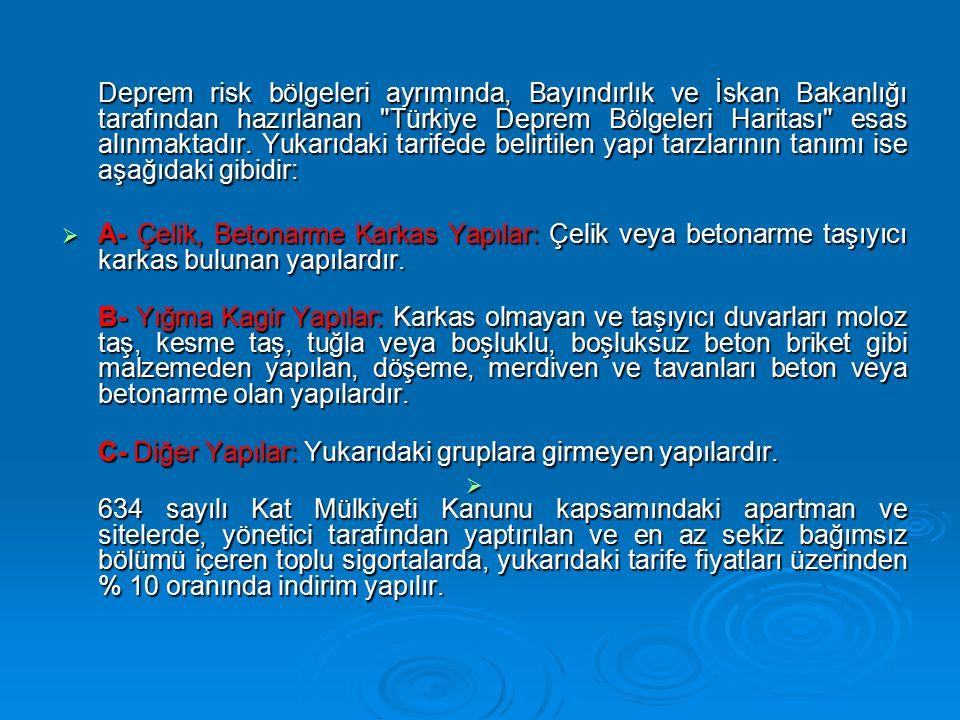 Deprem risk bölgeleri ayrımında, Bayındırlık ve İskan Bakanlığı tarafından hazırlanan Türkiye Deprem Bölgeleri Haritası esas alınmaktadır. Yukarıdaki tarifede belirtilen yapı tarzlarının tanımı ise aşağıdaki gibidir: