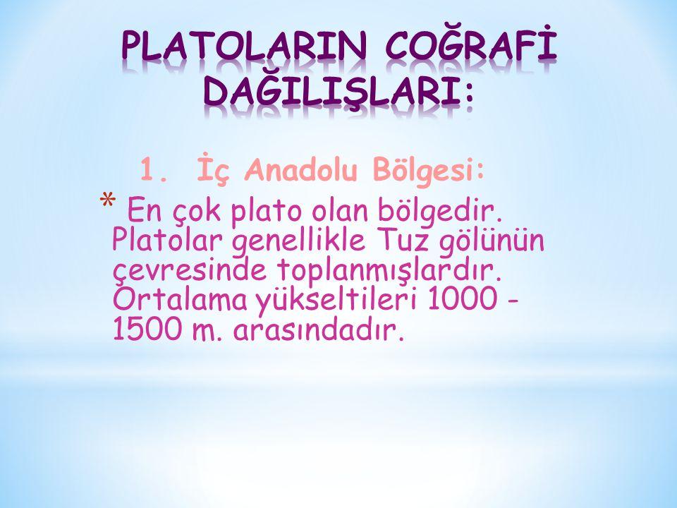 PLATOLARIN COĞRAFİ DAĞILIŞLARI: