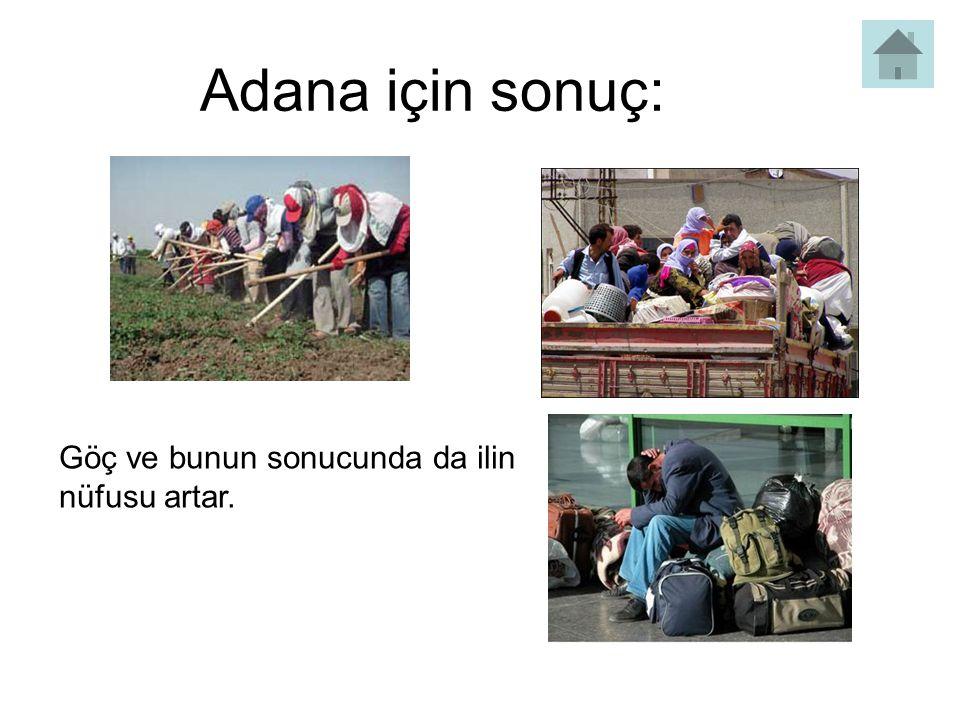 Adana için sonuç: Göç ve bunun sonucunda da ilin nüfusu artar.