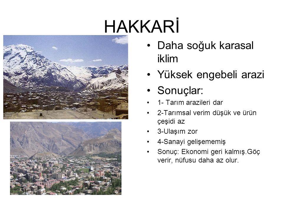 HAKKARİ Daha soğuk karasal iklim Yüksek engebeli arazi Sonuçlar: