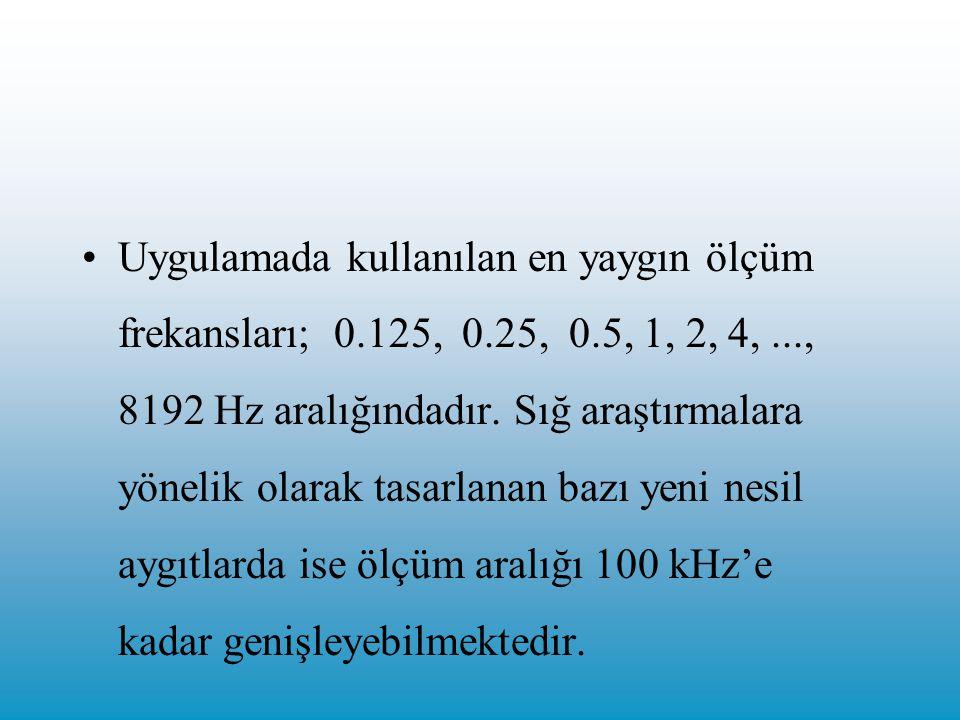 Uygulamada kullanılan en yaygın ölçüm frekansları; 0. 125, 0. 25, 0