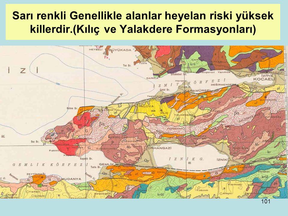 Sarı renkli Genellikle alanlar heyelan riski yüksek killerdir