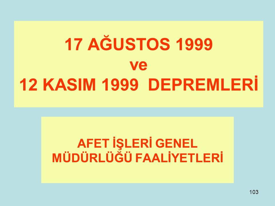 17 AĞUSTOS 1999 ve 12 KASIM 1999 DEPREMLERİ