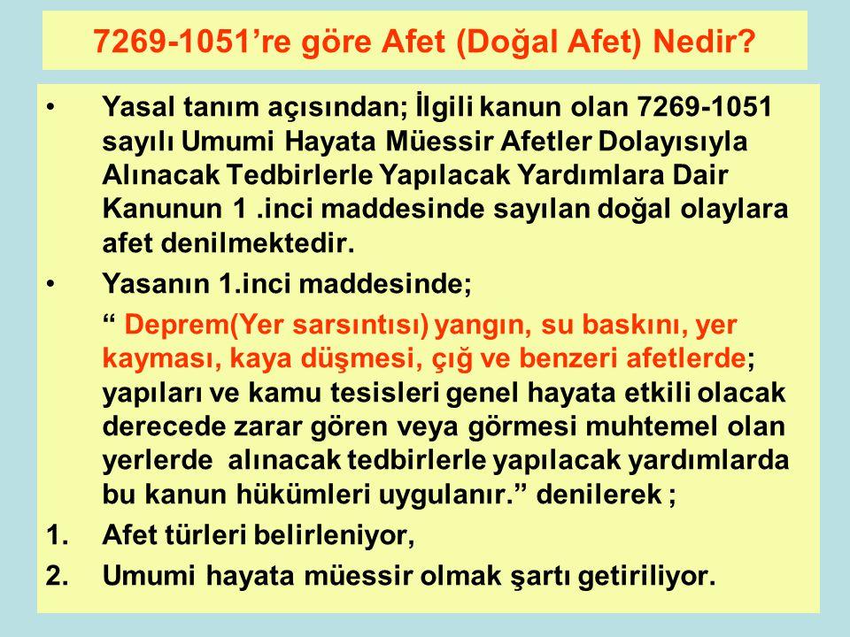 7269-1051're göre Afet (Doğal Afet) Nedir