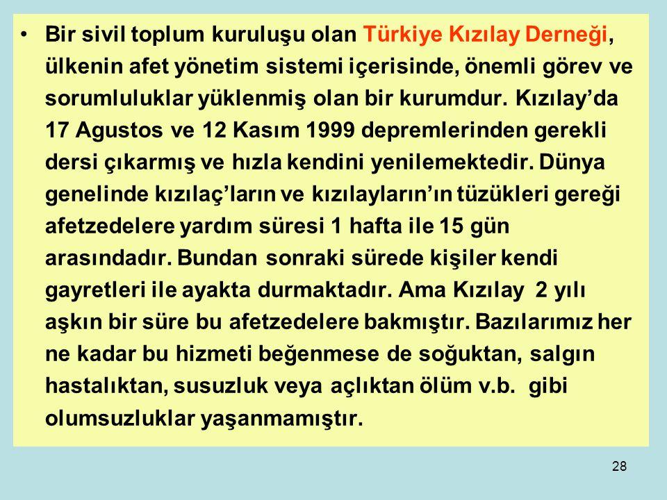 Bir sivil toplum kuruluşu olan Türkiye Kızılay Derneği, ülkenin afet yönetim sistemi içerisinde, önemli görev ve sorumluluklar yüklenmiş olan bir kurumdur.
