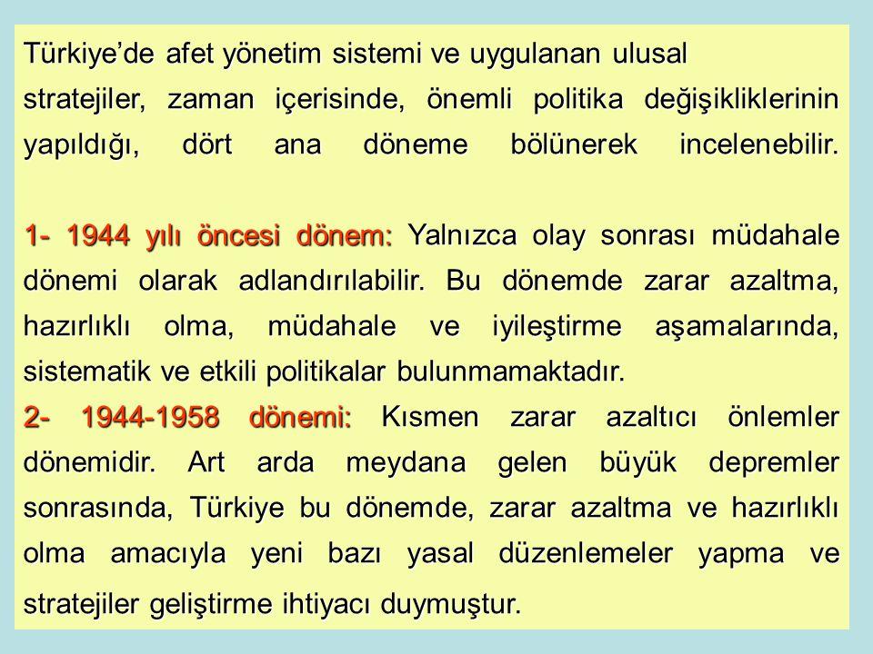 Türkiye'de afet yönetim sistemi ve uygulanan ulusal