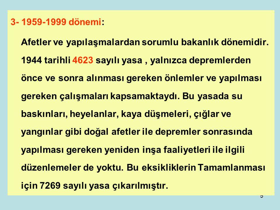 3- 1959-1999 dönemi: