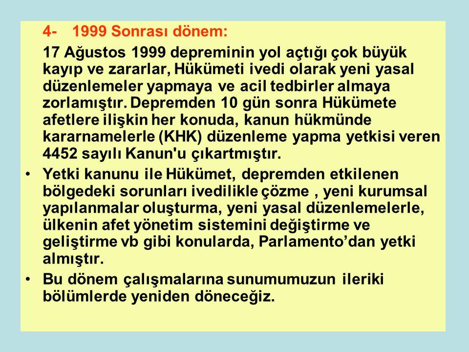 4- 1999 Sonrası dönem: