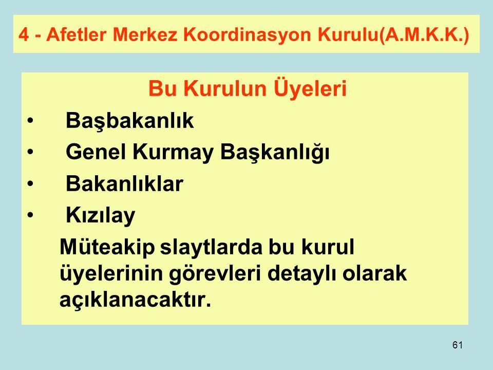 4 - Afetler Merkez Koordinasyon Kurulu(A.M.K.K.)