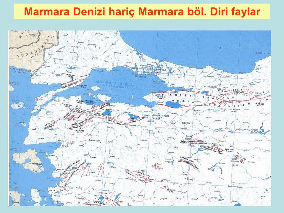 Marmara Denizi hariç Marmara böl. Diri faylar