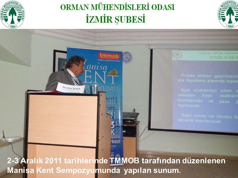 2-3 Aralık 2011 tarihlerinde TMMOB tarafından düzenlenen Manisa Kent Sempozyumunda yapılan sunum.