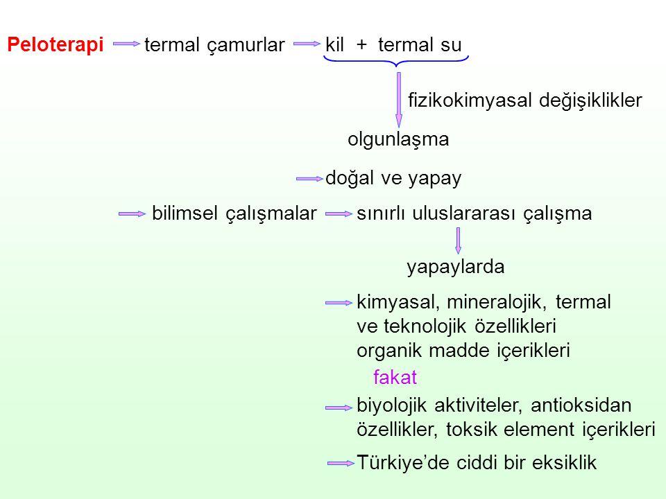 Peloterapi termal çamurlar. kil. + termal su. fizikokimyasal değişiklikler. olgunlaşma. doğal ve yapay.