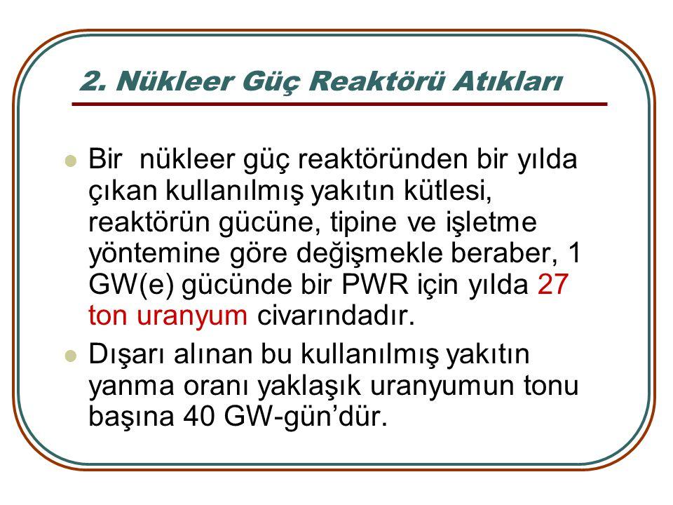 2. Nükleer Güç Reaktörü Atıkları