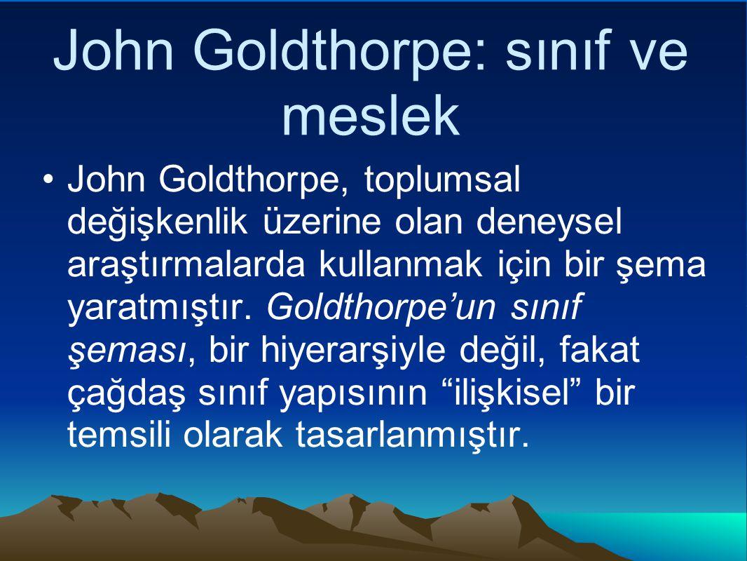 John Goldthorpe: sınıf ve meslek