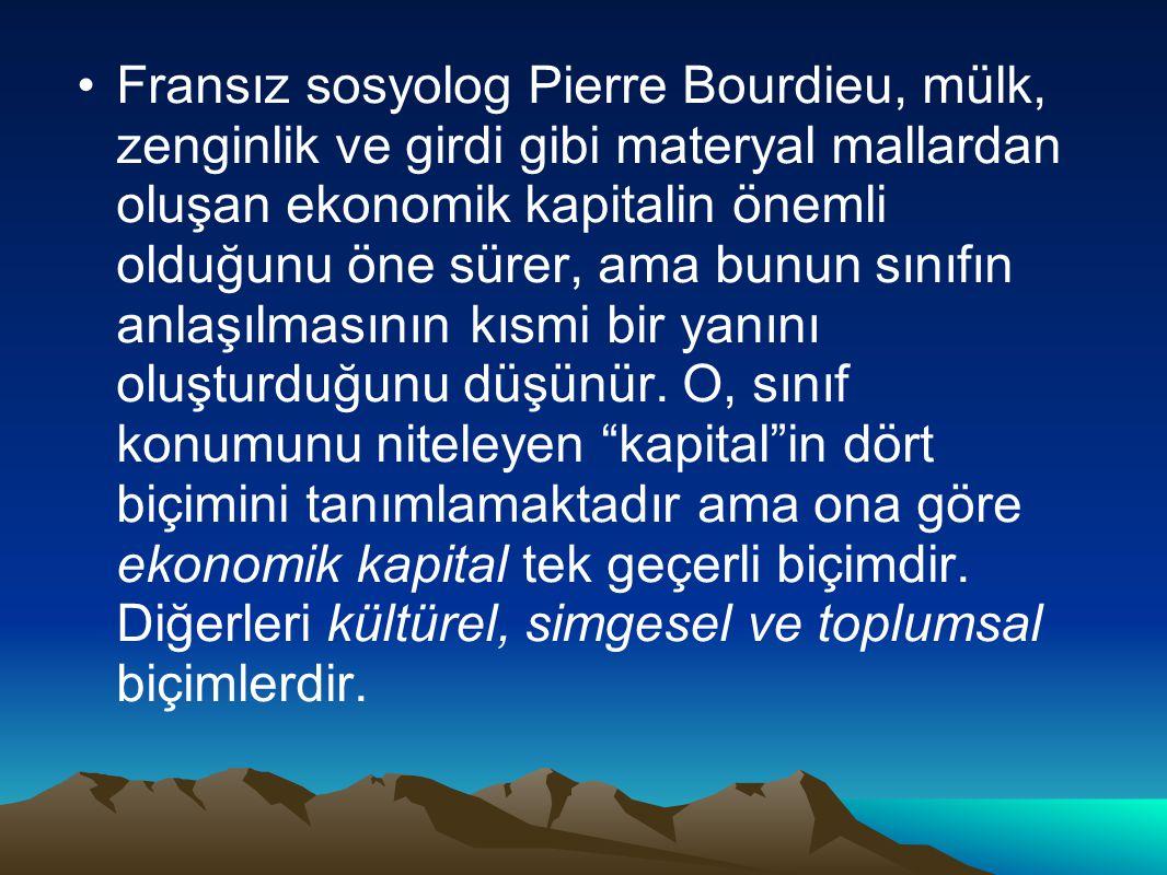 Fransız sosyolog Pierre Bourdieu, mülk, zenginlik ve girdi gibi materyal mallardan oluşan ekonomik kapitalin önemli olduğunu öne sürer, ama bunun sınıfın anlaşılmasının kısmi bir yanını oluşturduğunu düşünür.