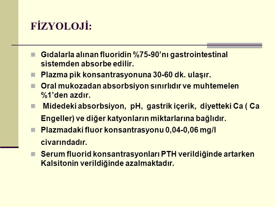 FİZYOLOJİ: Gıdalarla alınan fluoridin %75-90'nı gastrointestinal sistemden absorbe edilir. Plazma pik konsantrasyonuna 30-60 dk. ulaşır.