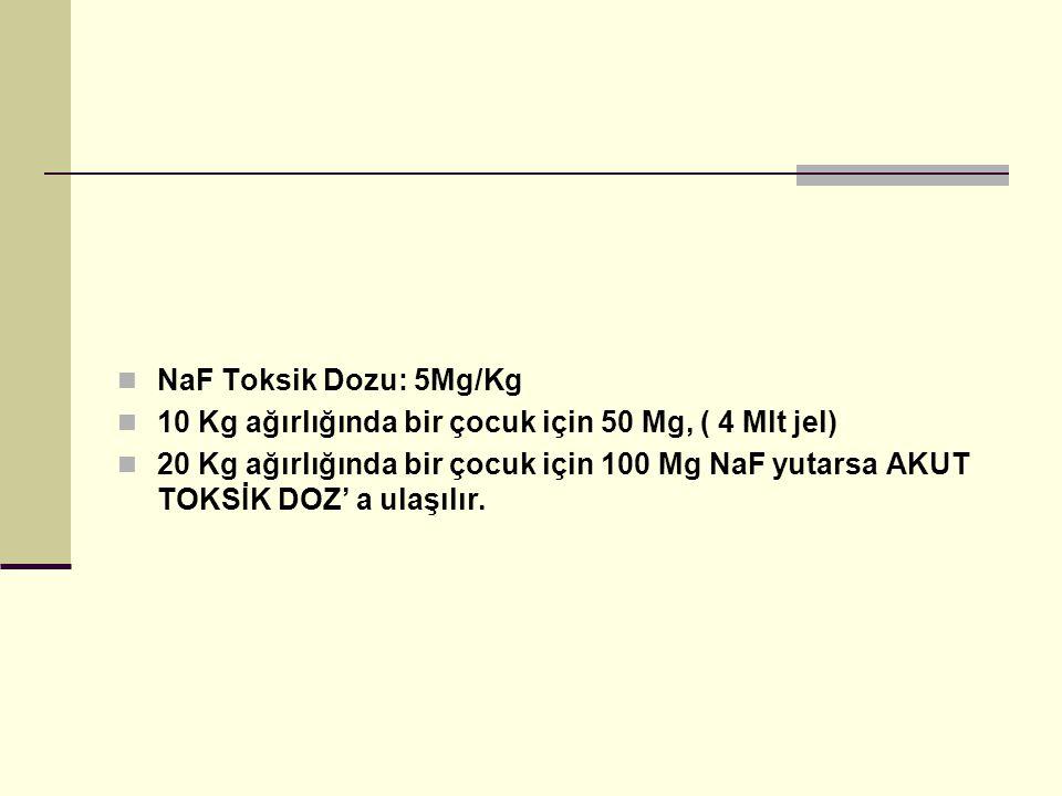 NaF Toksik Dozu: 5Mg/Kg 10 Kg ağırlığında bir çocuk için 50 Mg, ( 4 Mlt jel)