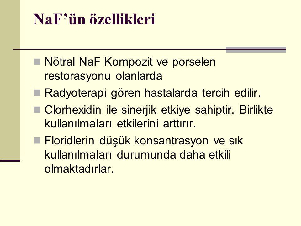 NaF'ün özellikleri Nötral NaF Kompozit ve porselen restorasyonu olanlarda. Radyoterapi gören hastalarda tercih edilir.