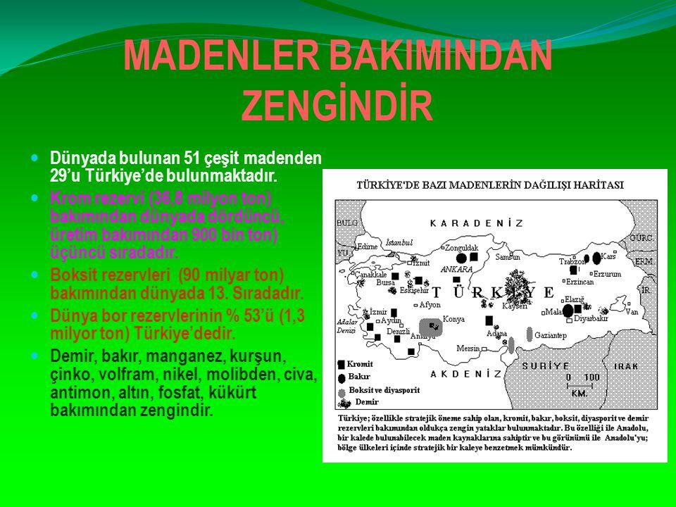 MADENLER BAKIMINDAN ZENGİNDİR