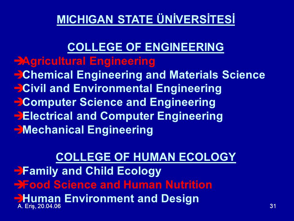 MICHIGAN STATE ÜNİVERSİTESİ COLLEGE OF ENGINEERING