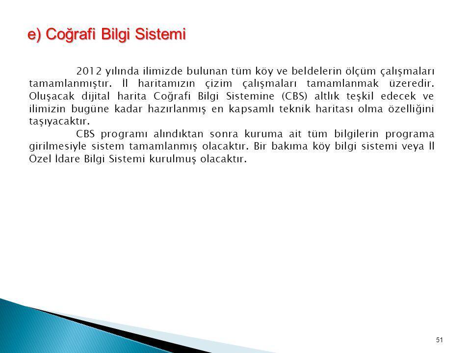 e) Coğrafi Bilgi Sistemi