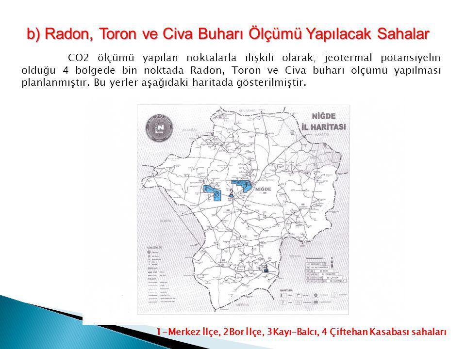 b) Radon, Toron ve Civa Buharı Ölçümü Yapılacak Sahalar
