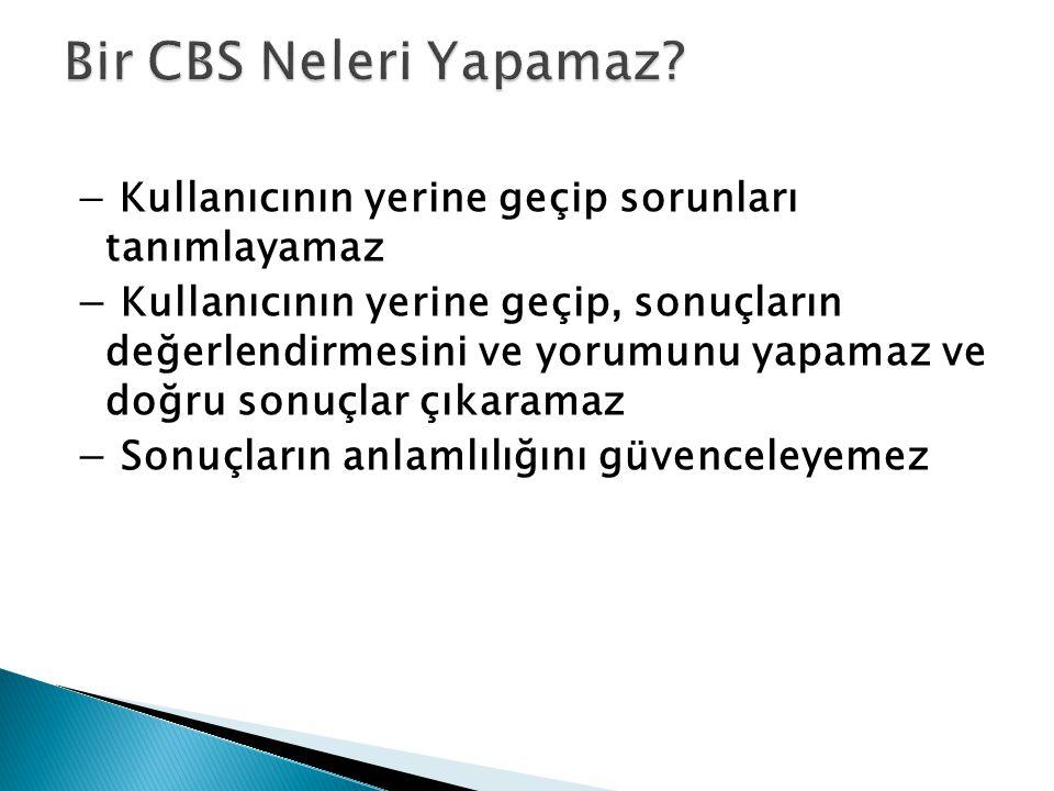 Bir CBS Neleri Yapamaz − Kullanıcının yerine geçip sorunları tanımlayamaz.