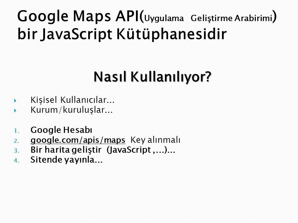 Google Maps API(Uygulama Geliştirme Arabirimi) bir JavaScript Kütüphanesidir