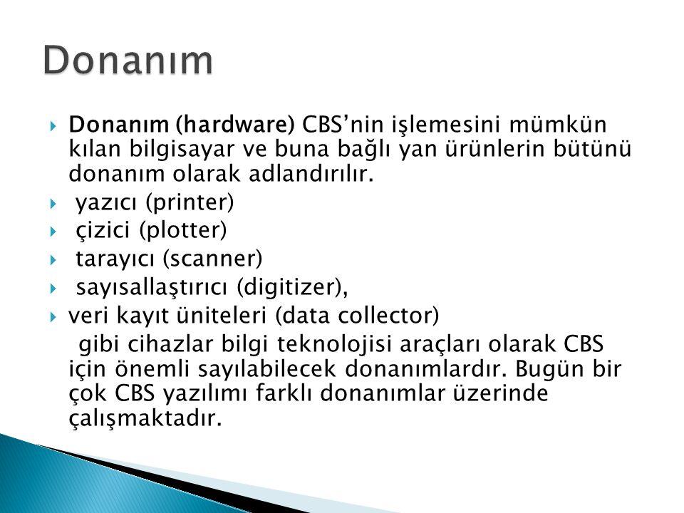 Donanım Donanım (hardware) CBS'nin işlemesini mümkün kılan bilgisayar ve buna bağlı yan ürünlerin bütünü donanım olarak adlandırılır.