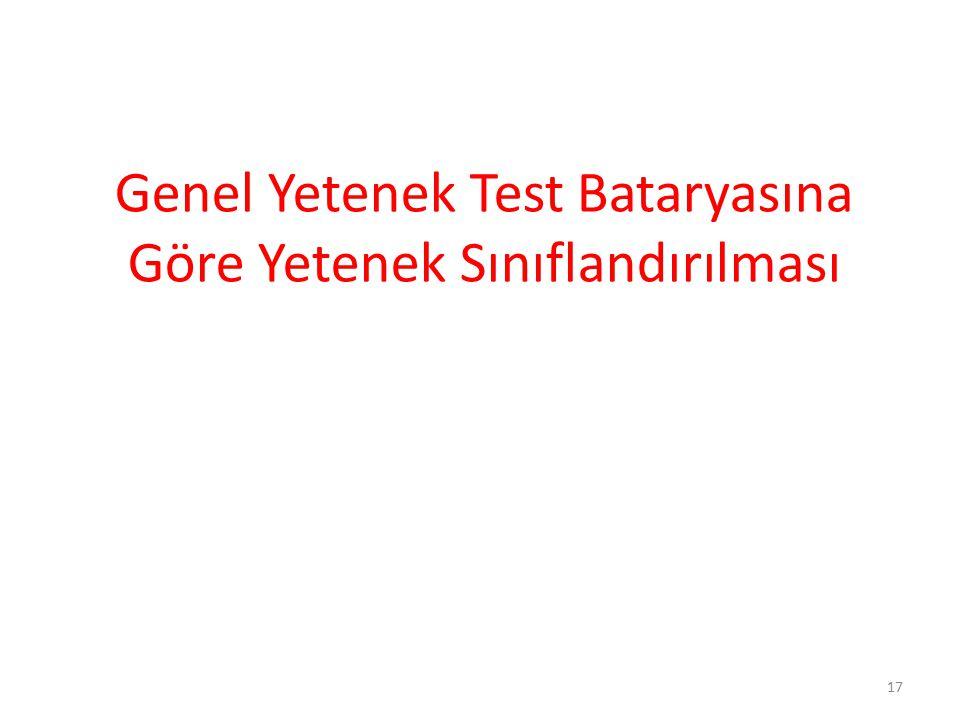 Genel Yetenek Test Bataryasına Göre Yetenek Sınıflandırılması
