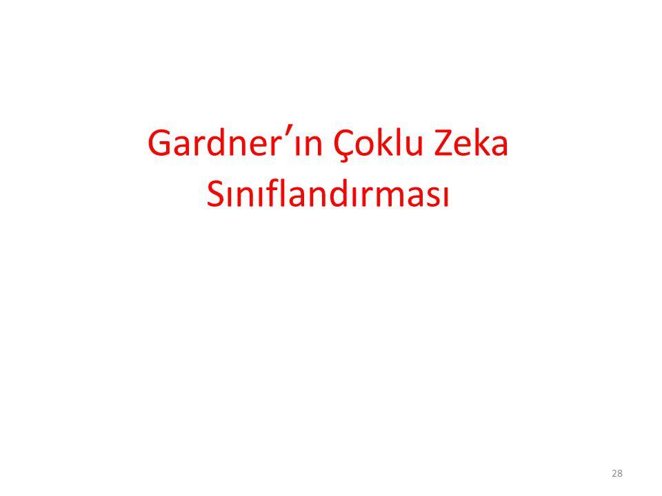 Gardner'ın Çoklu Zeka Sınıflandırması