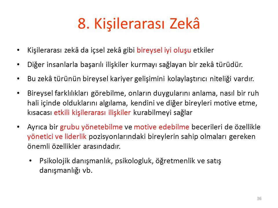 8. Kişilerarası Zekâ Kişilerarası zekâ da içsel zekâ gibi bireysel iyi oluşu etkiler.