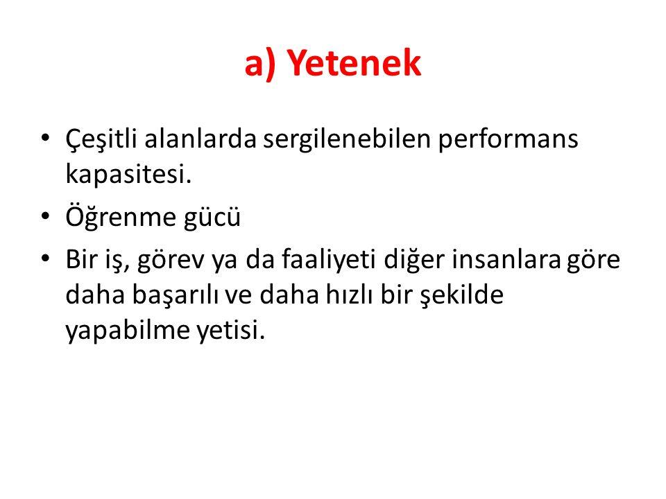 a) Yetenek Çeşitli alanlarda sergilenebilen performans kapasitesi.