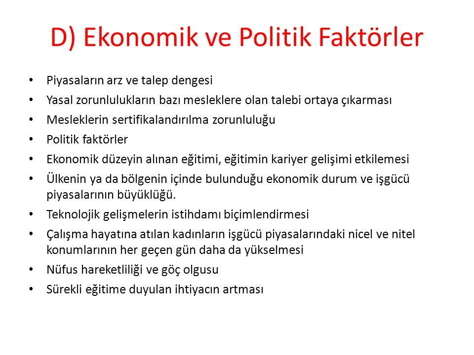D) Ekonomik ve Politik Faktörler