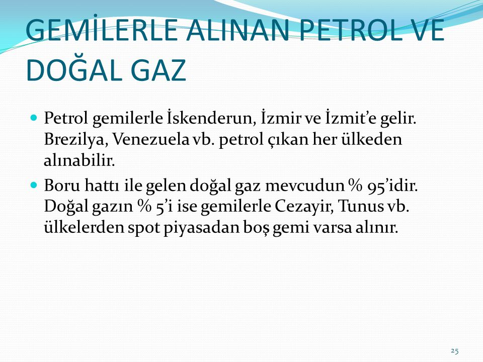 GEMİLERLE ALINAN PETROL VE DOĞAL GAZ