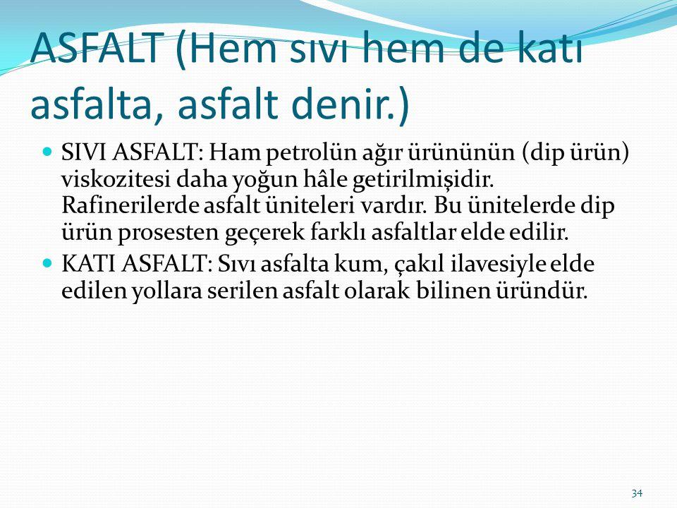 ASFALT (Hem sıvı hem de katı asfalta, asfalt denir.)