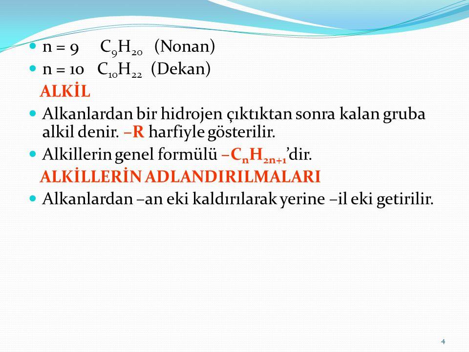 n = 9 C9H20 (Nonan) n = 10 C10H22 (Dekan) ALKİL. Alkanlardan bir hidrojen çıktıktan sonra kalan gruba alkil denir. –R harfiyle gösterilir.