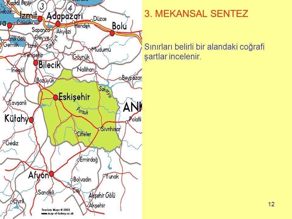 3. MEKANSAL SENTEZ Sınırları belirli bir alandaki coğrafi şartlar incelenir.