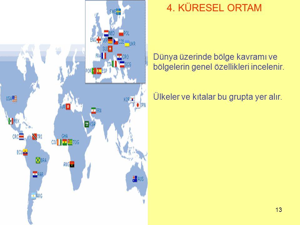 4. KÜRESEL ORTAM Dünya üzerinde bölge kavramı ve bölgelerin genel özellikleri incelenir.