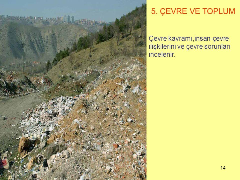 5. ÇEVRE VE TOPLUM Çevre kavramı,insan-çevre ilişkilerini ve çevre sorunları incelenir.