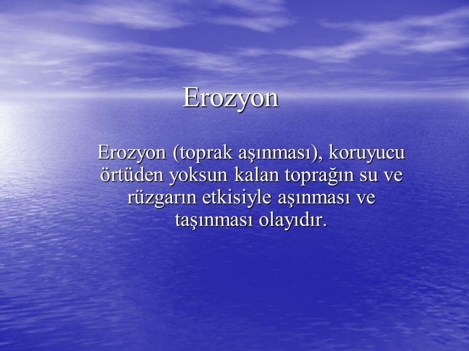 Erozyon Erozyon (toprak aşınması), koruyucu örtüden yoksun kalan toprağın su ve rüzgarın etkisiyle aşınması ve taşınması olayıdır.