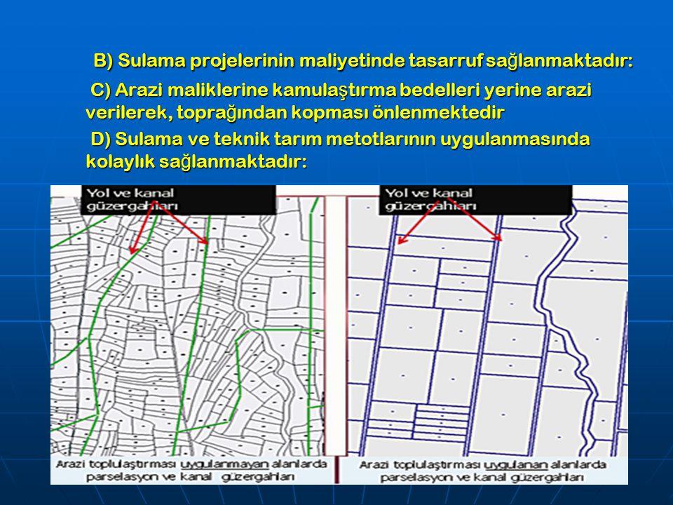 B) Sulama projelerinin maliyetinde tasarruf sağlanmaktadır: