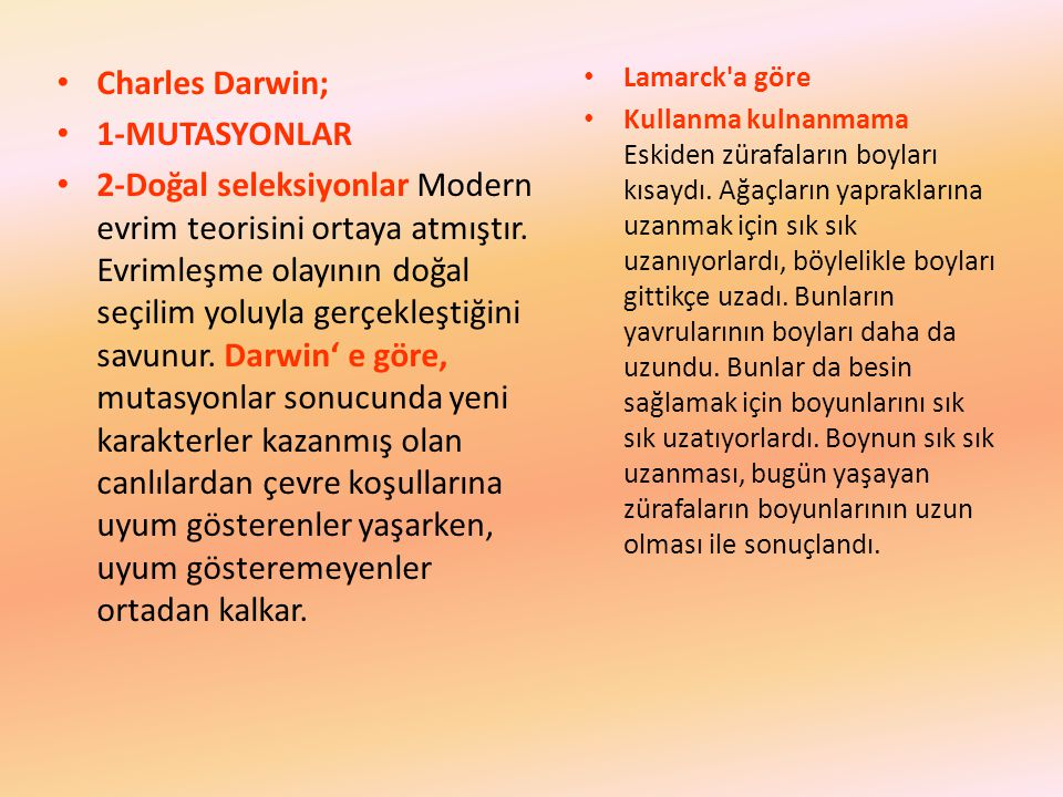 Charles Darwin; 1-MUTASYONLAR