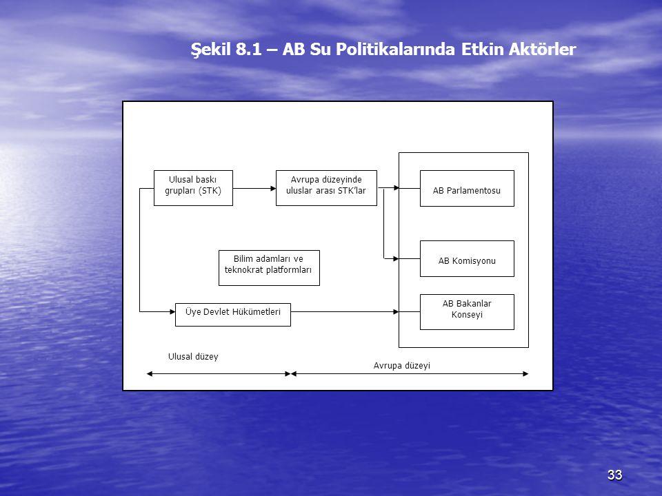 Şekil 8.1 – AB Su Politikalarında Etkin Aktörler