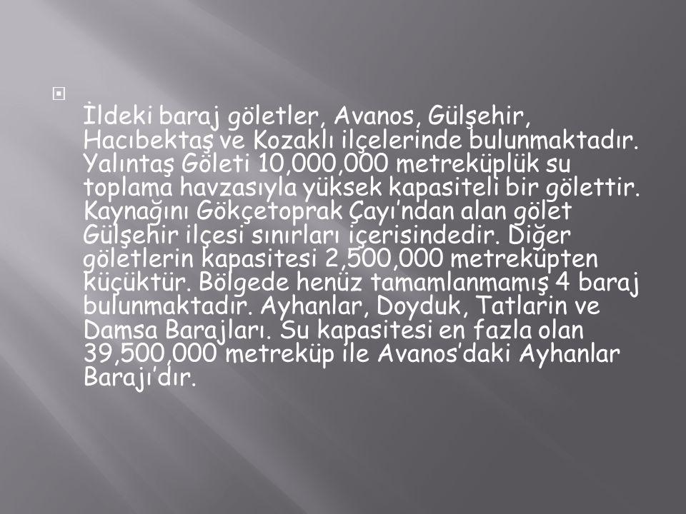 İldeki baraj göletler, Avanos, Gülşehir, Hacıbektaş ve Kozaklı ilçelerinde bulunmaktadır.
